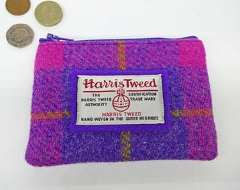 Scottish Harris tweed zipped coin purse in pink and purple check.