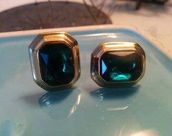 Vintage gold and fake emerald earrings for pierced ears