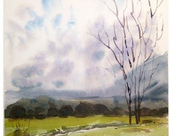Original watercolor landscape original watercolor painting english countryside painting english decor english watercolour landscape tree