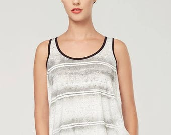 SOLDE BOURGEON - sleeveless minimalist top, cami, camisole for women - textured white with deconstruted silkscreen look edgy and grunge