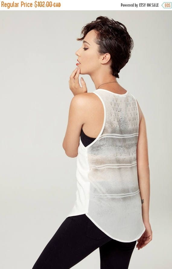 SOLDE SOLSTICE D'ÉTé - minimalist top with sheer back - see-through back, camisole, cami - white with deconstructed sikscreen edgy and grung