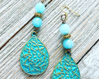 Vintage patina drops wire wrapped with amazonite stones. Nickel free ear wires.