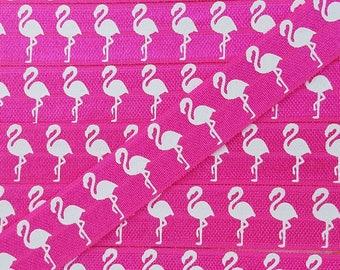 5/8 SHOCKING PINK with WHITE Flamingo Fold Over Elastic