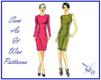 """FF 2010s Very Easy Vogue 8742 Sheath Slim Dress Panels Gathered Sides Knits Sewing Pattern Size 8 10 12 14 Bust 31 32 34 36"""" 80 83 87 92cm"""