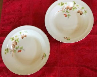 1940s Taylor Smith Pine Cone Soup Bowls - Set of 2