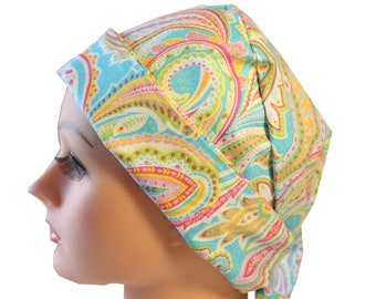 Scrub Hat Cap Chemo Vet Nurse Dr Hat Front Fold Pixie Tie Back Style Pastel Paisley