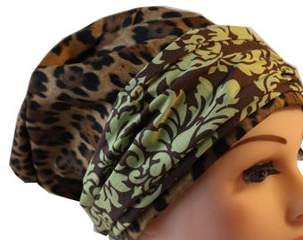 Scrub Hat Cap Chemo Bad Hair Day Hat  European BOHO Banded Pixie Tie Back Animal Print with Green Damask Band 2nd Item Ships FREE