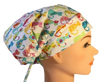 Scrub Hat Cap Chemo Bad Hair Day Hat  European BOHO Calico Cats 2nd Item Ships FREE