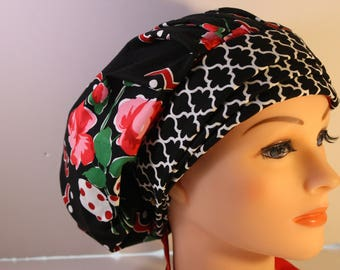 Scrub Cap Surgical Medical Hat Chemo Chef Vet Doctor Nurse Hat Banded Bouffant Tie Back Roses are Red Black Quaterfoil 2nd Item Ships FREE