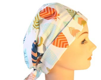 Surgical Scrub Hat Scrub Chef Doctor Vet Nurse Chemo Cap Flirty Front Fold Pixie Feathers Blue Peach Ceil Orange  2nd Item Ships FREE