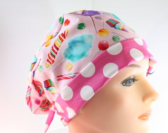 Scrub Hat Surgical Scrub Cap Chef Nurse Dr Chemo Hat Flirty Front Fold Pixie Cotton Candy Cupcakes Candy Store P007 2nd Item Ships FREE