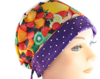 Scrub Hat Surgical Scrub Cap Chef Nurse Dr Chemo Hat Flirty Front Fold Pixie Fresh Fruit Purple Dot P011 2nd Item Ships FREE