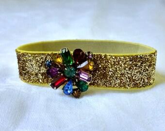 Gold & Rainbow Wrist Cuff