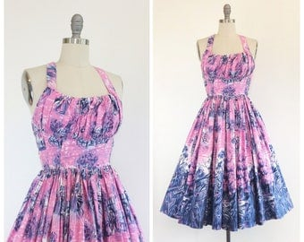 50s Pink & Purple Fairytale Print Cotton Dress / 1950s Vintage Novelty Print Day Dress / Small / Size 4 to 6