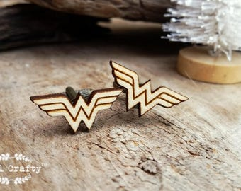 Wonder Woman Wooden Cufflinks Superhero Dad Grooms Best man Groomsman Rustic Wedding Birthday Gift Cuff links