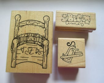 "Set of 3 Rubber Stamps "" The Bed times"" JRL Designs slightly used good condition"
