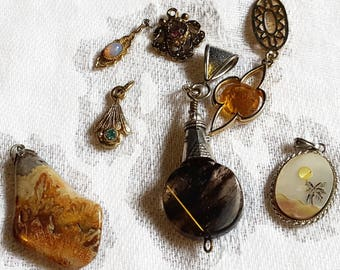 Vintage Estate 8 Pendants without Chains  - Opal polished stone Tropical