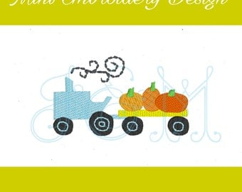 Mini Pumpkin Tractor Hayride Fill  Embroidery Design