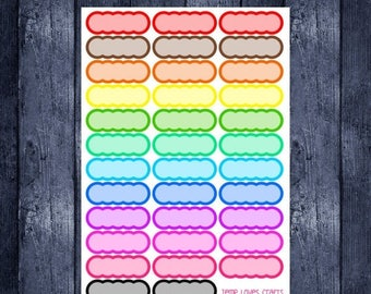 Weekend Sale 35 Rainbow Scalloped quarter box stickers for erin condren life planner