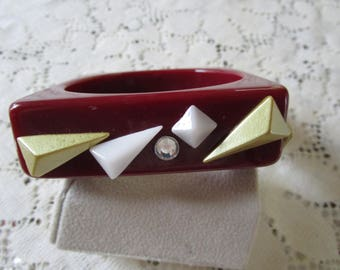 Vintage Cherry Red Bangle Bracelet