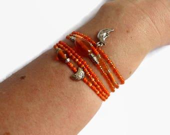 Orange moon bracelet, bohemian stretch bracelet, seed bead bracelet set