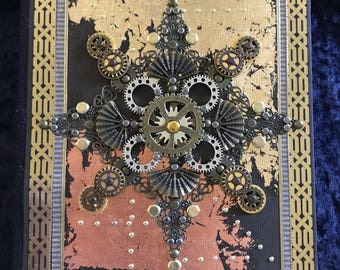 Cardinal points steampunk journal with gold and copper leaf