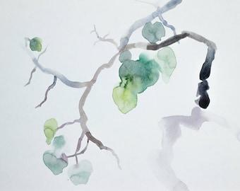 aspen branch . original watercolor painting