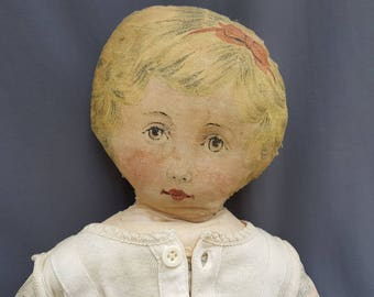 """Antique Rag Doll Art Fabric Mills printed cloth doll Patented Feb 13 1900 blonde hair red stockings 26""""  original cut & sew doll by the yard"""