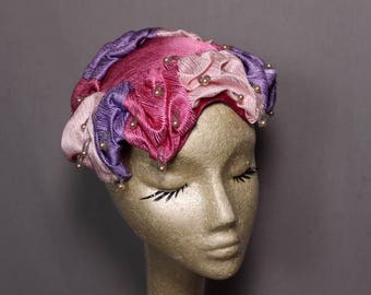 Pink and Purple Three Toned Hat with Faux Pearl Accents