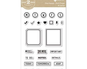 "Jillibean Soup Hampton Art Day 2 Day - DON'T FORGET 3.5"" X 5"" clear silicone stamp set - JB1249 Planner Stamps cc01"