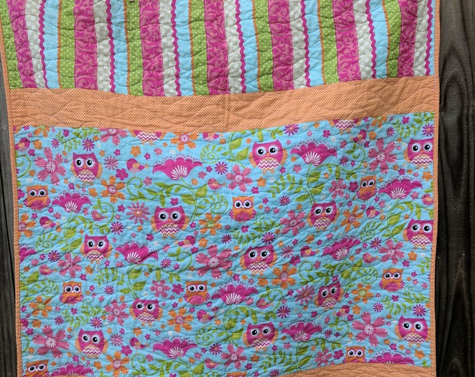 Hoot Owl Modern Pink Lime Green Tangerine Chevron Polka Dots Ready to Ship Baby Toddler Quilt