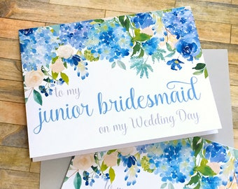 thank you for being my junior bridesmaid card - hydrangea wedding thank you card - to my flower girl - jr bridesmaid wedding card - ETERNITY