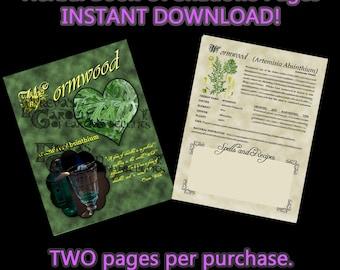 Wormwood Herbal Book Of Shadows, Herbal Witchcraft Information, Herbal Correspondences, Herbal Spells, Digital Download Herbal BOS pages
