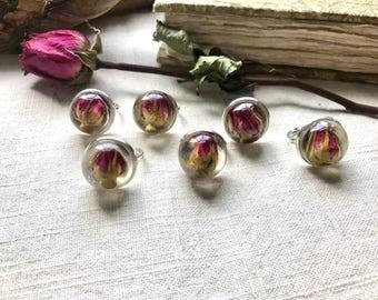 Floating Rose Bud Ring in Silver - Adjustable