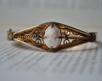 Antique Gold Filled Cameo Bangle - 1900s Art Deco Gold Filled Genuine Cameo Bracelet