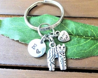 "CAT KEYCHAIN with initial charm - Read ""item details"" & see all photos - one flat rate shipping in my shop :)"