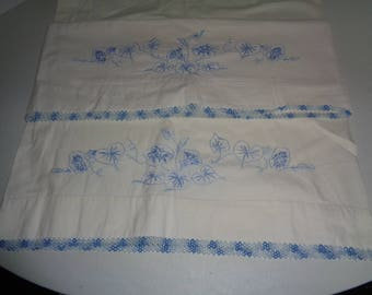 2) Vintage Embroidered Standard Pillow Cases
