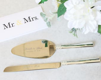 Personalized Vera Wang With Love Silver Wedding Cake Knife and Server Set - (2 PC) Custom Engraved Cake Server and Knife Set - Wedding Gift