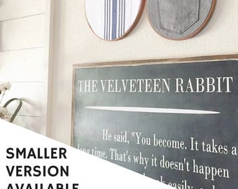 The Velveteen Rabbit painted wood sign - Distressed Rustic Antiqued sign - Inspirational - Childrens literature