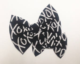 XOXO Black and White Bow | Fabric Bow | Handmade Hair Bow | Hair Clip | Headband