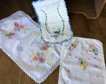 Vintage hand embroidered pieces, set of three