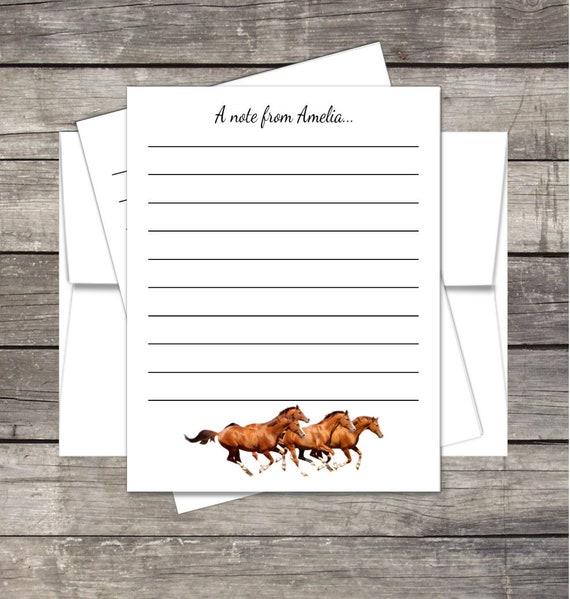 horses stationery kids summer camp notecards envelopes