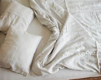 Light Gray Duvet Cover/ Queen Bedding/Natural Linen/Linen Duvet Cover/Softened Linen