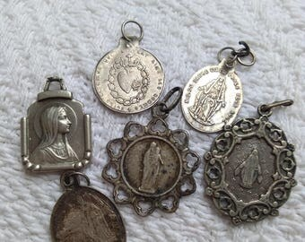 lot 6pcs French antique 19th century religious medal stamped sterling silver our lady lourdes gothic notre dame virgin mary sacred heart