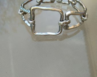 Heavy metal copper high quality silver Haute couture Nina Ricci vintage bracelet  large chain bracelet toggle claspe Signed