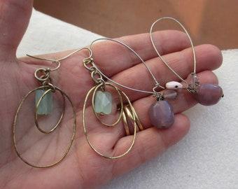 Lot Of Retro Dangling Beaded Pierced Earrings TLC