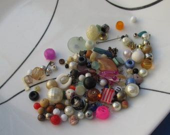 Lot Of Salvaged Assorted Beads Findings Dangles