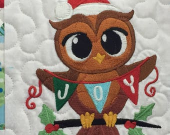 Christmas Owl Pillow, Decorative Pillow, Christmas Décor, Seasonal Pillow,  Quilted Pillow Cover, Holiday Pillow, Embroidered Pillow