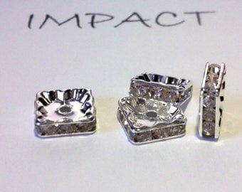4 spacers, silver square rhinestones 10 X 10 mm