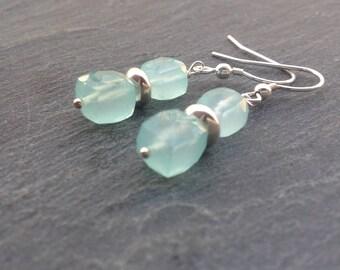 Aqua Chalcedony earrings, Sterling silver, gemstone earrings, drop earrings, dangle earrings, mint green earrings,teal earrings,gift for her